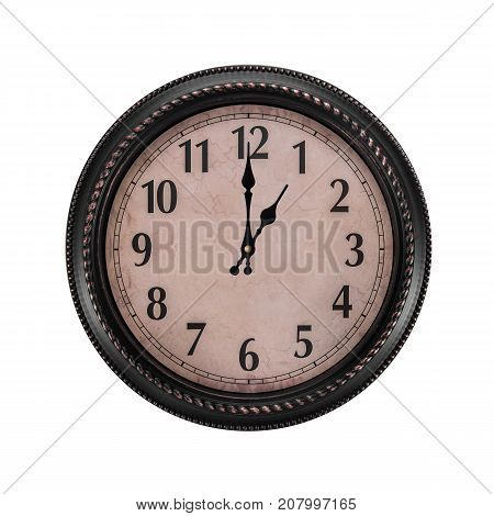 Ancient wall clock on a white background. Hour of the day or one o'clock in the morning.