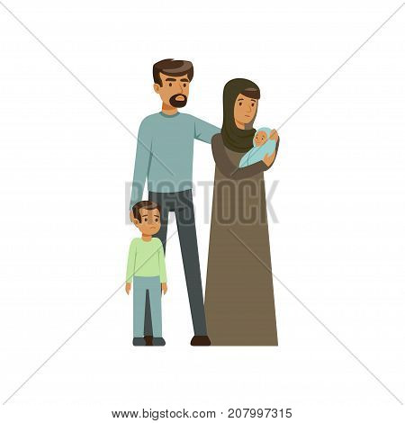 Stateless refugee family, war victims concept vector Illustration isolated on a white background