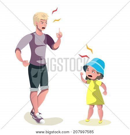 Father character scolding his daughter. Vector illustration