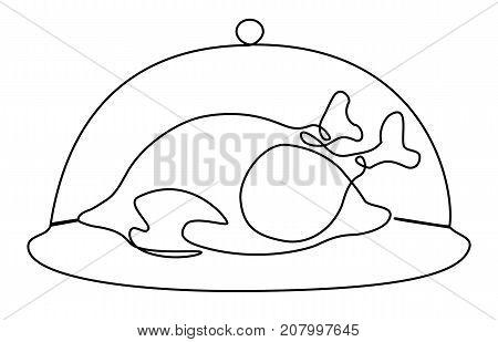 Roast turkey / chicken one line drawing - vector illustration