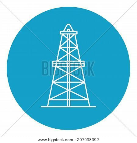 Oil derrick icon in thin line style. Rig for exploration and oil production symbol in round frame.