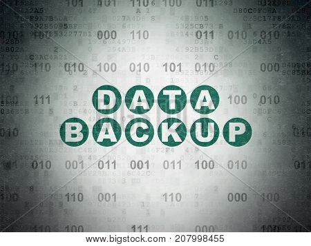 Data concept: Painted green text Data Backup on Digital Data Paper background with Binary Code