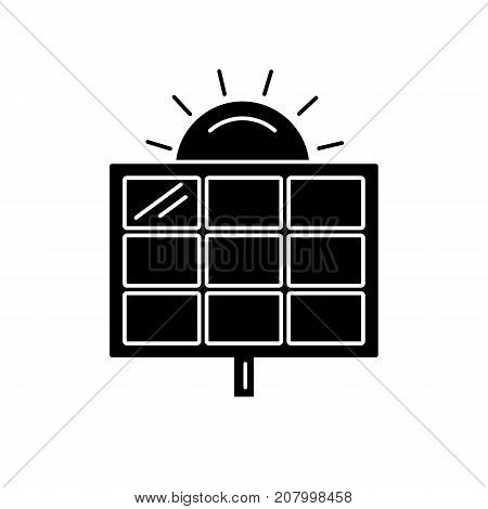 Solar panel silhouette icon in flat style. Alternative renewable energy source symbol isolated on white background.
