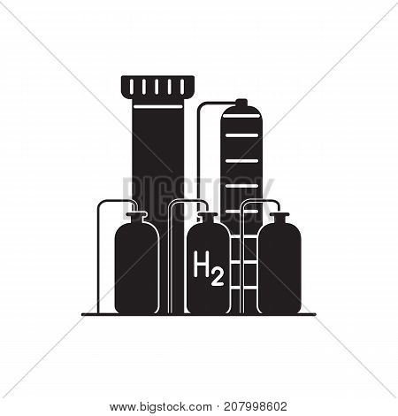 Hydrogen plant silhouette icon in flat style. Renewable energy production symbol isolated on white background.