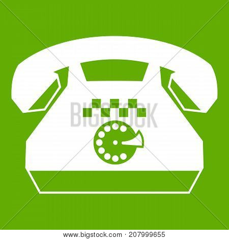 Taxi phone icon white isolated on green background. Vector illustration