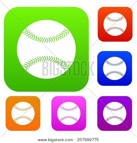 Baseball set icon color in flat style isolated on white. Collection sings vector illustration