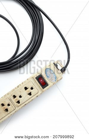 Old and unsafe power strip with illuminated switch isolated on white background