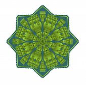 Green mandala for energy and vitality obtaining, circle symmetric embossed patterns in star shape, for meditation and concentration exercises, Vector EPS 10 poster