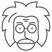 professor, einstein, scientist, freak vector line icon, sign, illustration on white background editable strokes poster