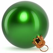 Christmas ball decoration bauble green New Year's Eve hanging adornment traditional Happy Merry Xmas wintertime ornament polished closeup. 3d rendering illustration poster
