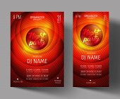 Night Club Party Flyer or Poster Layout Template. Musical electro concert in the style of house, dubstep, techno, minimal, trance, Drum and Bass or Indie rock.Background of electric discharge. poster
