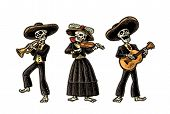 Day of the Dead, Dia de los Muertos. The skeleton in the Mexican national costumes dance, sing and play the guitar, violin, trumpet. Vector hand drawn vintage engraving isolated on white background poster
