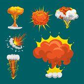 Cartoon explosion boom effect animation game sprite sheet explode burst blast fire comic flame vector illustration. Military destruction design aggression object. poster