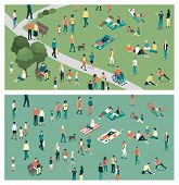 People gathering in the city urban park and relaxing in nature together community and lifestyle concept poster