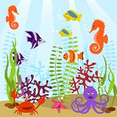 Sea life seamless pattern (vector illustration ) poster