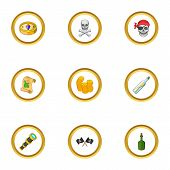Corsair icons set. cartoon style set of 9 corsair vector icons for web design poster