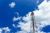 telecommunication tower for radio wave or mobile cellular with beautiful clear blue sky and little clouds. telecommunication and network connected concept. poster