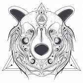 Grizzly bear head with ancient pagan valknut symbol on forehead line art vector illustration isolated on white background. Totem animal with abstract geometric ornaments on muzzle. Pagan folk tattoo poster