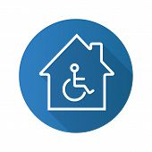 Handicap hospital flat linear long shadow icon. House with special facilities. Vector outline symbol poster
