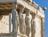Caryatids statues on a porch of Erechtheion temple in Acropolis of Athens Greece poster