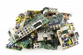 Printed-circuit boards of various electronic systems prepared for processing. Isolated on white. poster