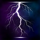 Lightning storm strike realistic 3d light lighting effects vector illustration. Natural lightning bolt storm strike realistic 3d light poster