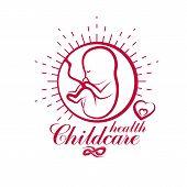 Vector embryo emblem. New life beginning drawing. Maternity hospital conceptual logo poster