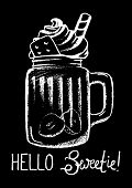 Dessert and lettering white chalk on black vector illustration. Creamy dessert in glass. Tasty dessert with cream top. Coffee drink cup. Sweet coffee drink sketch for cafe menu. Yummy dessert poster poster