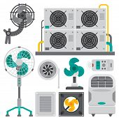 Air conditioner airlock systems equipment ventilator conditioning climate fan technology temperature cool home control vector illustration. Blow acclimatization purifier blowing ventilation appliance. poster