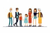 Big modern family vector flat design illustration. Relatives standing together. Grandparents, mother, father, siblings. Happy family characters poster