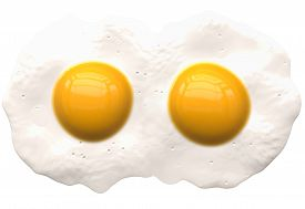 Poached Eggs Isolated On White - 2 Coupled