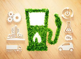Biofuel concept on wooden background. 3d illustration.