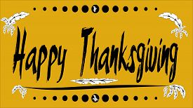 Happy Thanksgiving greeting card with yellow background