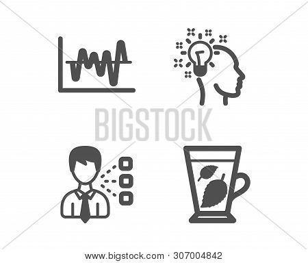 Set Of Third Party, Idea And Stock Analysis Icons. Mint Leaves Sign. Team Leader, Creative Designer,