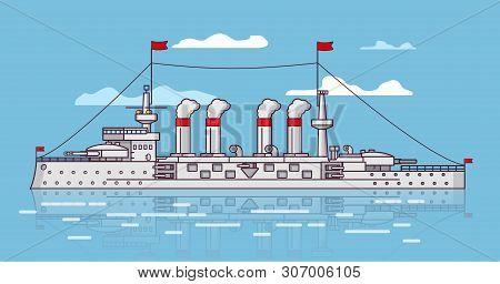 Battleship Artillery Of A Tower. Steam Battle Ship. Pipe Smoke. Military Sea Vehicle. Naval Vessel.