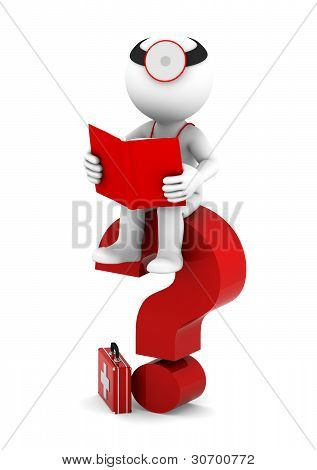Medic With Book Sittting On Red Question Mark