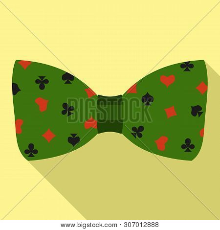 Green Play Cards Bow Tie Icon. Flat Illustration Of Green Play Cards Bow Tie Vector Icon For Web Des