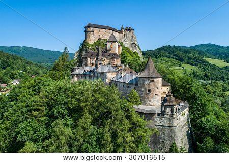Orava Castle - Oravsky Hrad In Oravsky Podzamok In Slovakia. Medieval Stronghold On Extremely High A