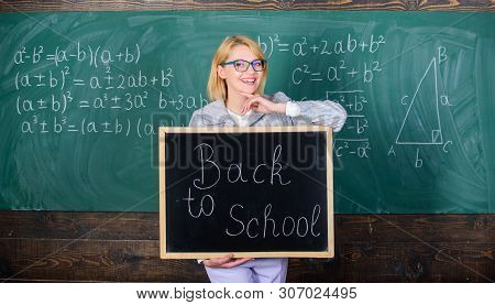 Start School Year. Top Ways To Welcome Students Back To School. Teacher Woman Hold Blackboard Inscri