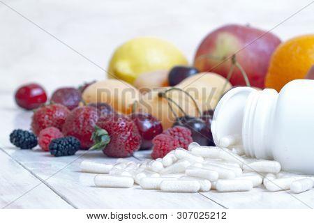 Ripe Berries. Vegetarian Food. Nutritional Supplements. Fresh Vitamin Nutrition. Natural Food. Detox