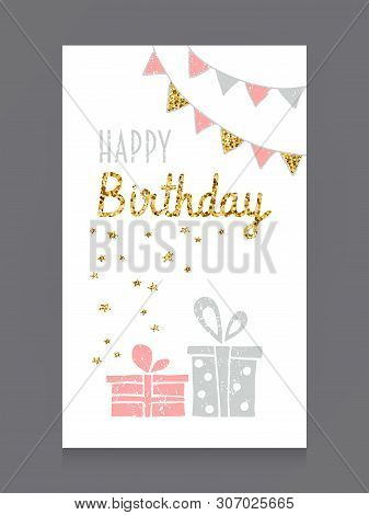 Happy Birthday Greeting Card With Gift Boxs In Pink, Grey, Gold And White Colors. Vector Hand Drawn