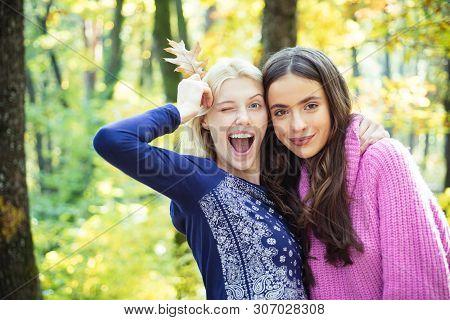 They Radiate Coziness. Enjoy Warmth. Women Enjoy Sunny Day Outdoors. Pretty Women Long Hair Nature B