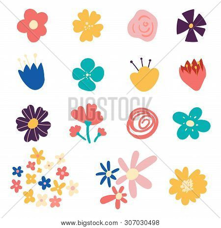 Set Of Flowers And Floral Elements Isolated On White Background. Set Of Cute Hand-drawn Spring Flowe