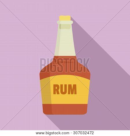 Rum Bottle Icon. Flat Illustration Of Rum Bottle Vector Icon For Web Design