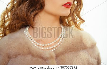 For Posh Girl. Pearl Necklace And Mink Fur. Natural Pearl Beads And Fur. Fashion Accessory And Jewel
