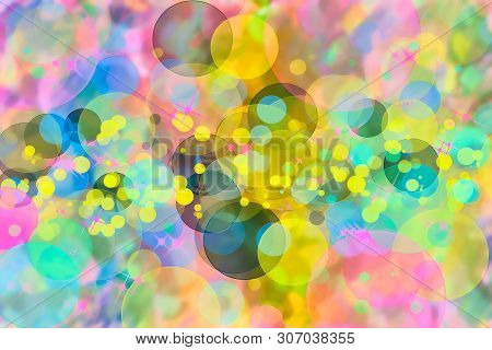 Abstract Multicolored Defocused Bokeh Pattern Wallpaper. Blurred Background.