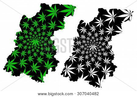 Nizhny Novgorod Oblast (russia, Russian Federation, Oblasts Of Russia) Map Is Designed Cannabis Leaf