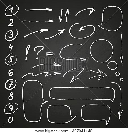 Hand Drawn Black Marker Set Of Numbers And Punctuation, Along With A Few Doodles: Arrows, Circles An