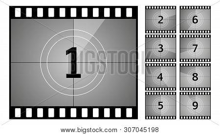 Vintage Retro Cinema. Countdown Frame. Art Design. Old Film Movie Timer Count. Vector Stock Illustra