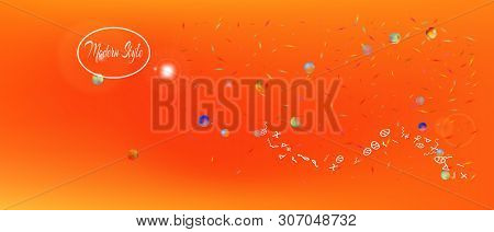 Crisp Space And Signs Confetti. Background Graphic. Minimal Colorific Illustration. A Ultra Wide The